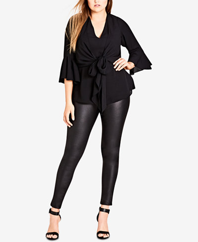 City Chic Trendy Plus Size Tie-Front Top