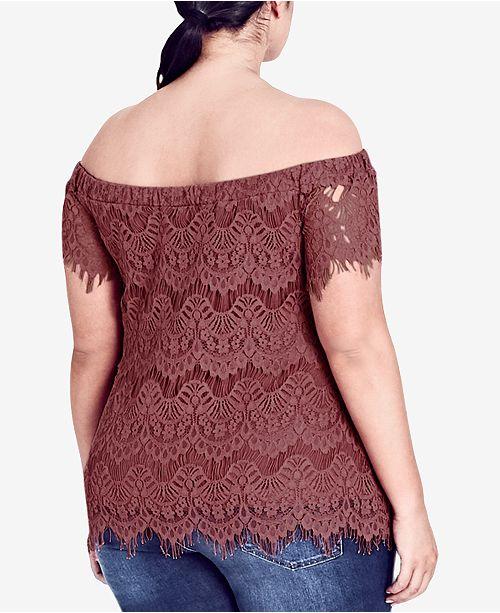 7b94bbc18b6 City Chic. Trendy Plus Size Off-The-Shoulder Lace Top. 1 reviews. main  image ...