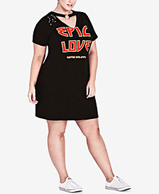 City Chic Trendy Plus Size Graphic T-Shirt Dress
