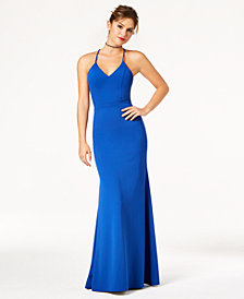 B Darlin Juniors' Lace-Back Fitted Gown