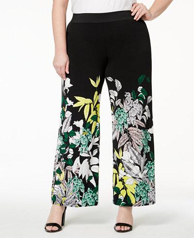 Alfani Plus Size Printed Wide-Leg Pants, Created for Macy's