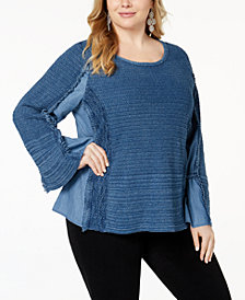 I.N.C. Plus Size Chambray Knit-Trim Top, Created for Macy's