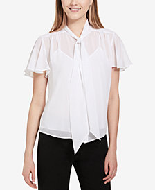 Calvin Klein Sheer Tie-Neck Blouse, Regular & Petite