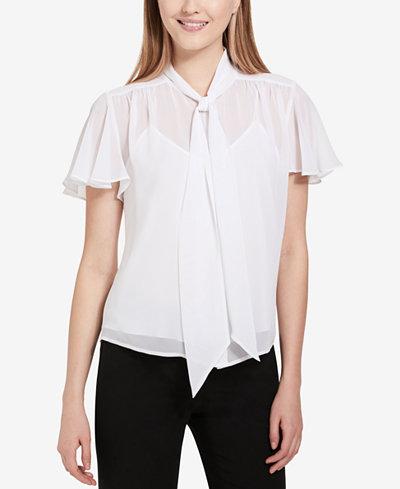 Calvin Klein Sheer Tie-Neck Blouse, Regular & Petite