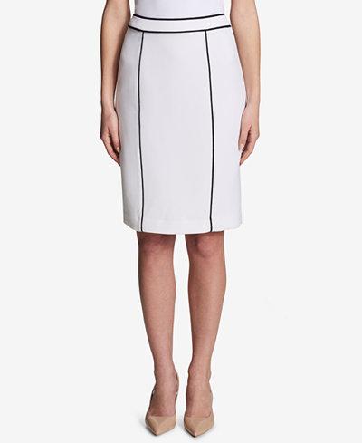 Calvin Klein Piped-Trim Pencil Skirt