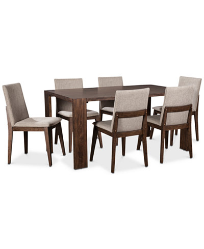 Crosby Dining Furniture, 7-Pc. Set (Table & 6 Upholstered Side Chairs), Created for Macy's