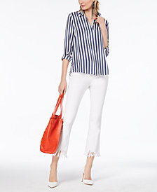 I.N.C. Striped Shirt & Fringe-Trim Cropped Jeans, Created for Macy's