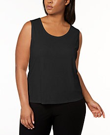 Eileen Fisher Plus Size SYSTEM Silk Jersey Tank Top