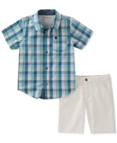 Calvin Klein 2-Pc. Plaid Cotton Shirt & Shorts Set, Toddler Boys