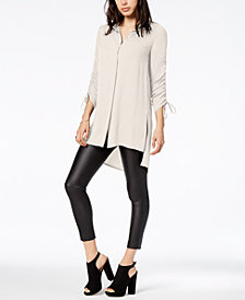 Bar III Ruched High-Low Shirt, Created for Macy's