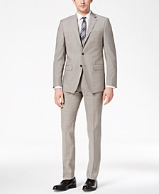 Calvin Klein Men's X-Fit Stretch Light Gray Solid Slim-Fit Suit