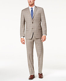 CLOSEOUT! Michael Kors Men's Classic-Fit Tan/Blue Plaid Suit