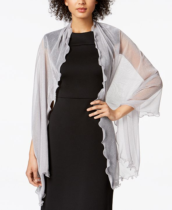 INC International Concepts INC Ruffle-Edge Metallic Evening Wrap, Created for Macy's