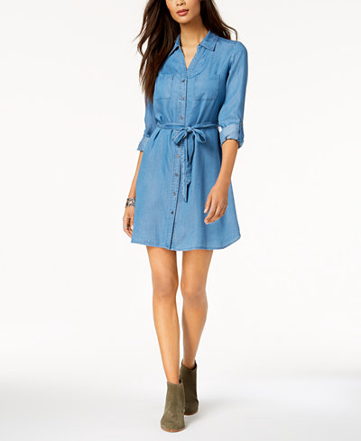 Style & Co Tie-Belt Shirtdress, Created for Macy's
