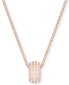 "Swarovski Rose Gold-Tone Crystal Ring 14-3/4"" Pendant Necklace"