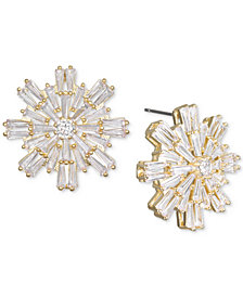 Jewel Badgley Mischka Baguette Crystal Starburst Cluster Stud Earrings