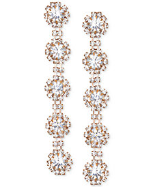 Jewel Badgley Mischka Crystal Flower Linear Drop Earrings