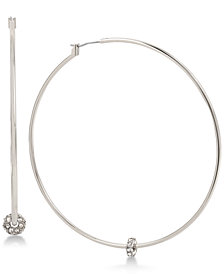 Touch of Silver Crystal Charm Hoop Earrings in Silver-Plate