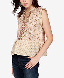 Lucky Brand Mixed-Print Peplum Top