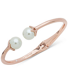 Ivanka Trump Rose Gold-Tone Imitation Pearl Hinged Cuff Bracelet