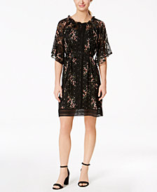 Taylor Floral-Print Ruffled Chiffon Dress
