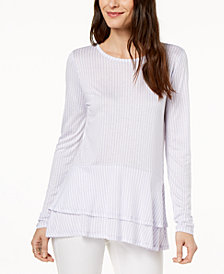 MICHAEL Michael Kors Petite Layered Flounce-Hem Top