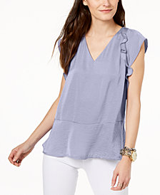 MICHAEL Michael Kors Ruffle-Shoulder Peplum Top