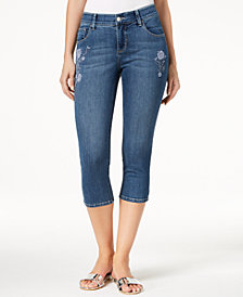 Lee Platinum Petite Embroidered Cropped Stretch Jeans
