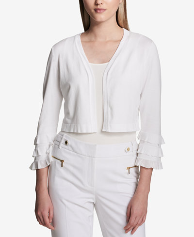 Calvin Klein Cropped Tiered-Sleeve Cardigan