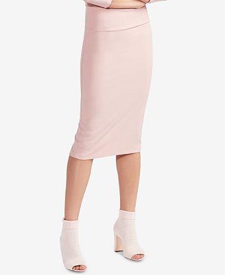 Avec Les Filles Ribbed Pencil Skirt