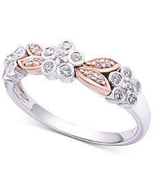 Wrapped in Love™ Diamond Two-Tone Flower Ring (1/4 ct. t.w.) in 14k White & Rose Gold, Created for Macy's