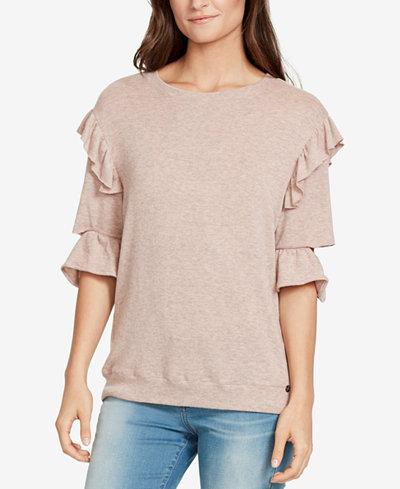 WILLIAM RAST Ruffled Cutout-Sleeve Sweatshirt