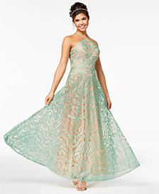 Speechless Juniors' Strappy-Back Sparkle Embroidered Gown, Created for Macy's