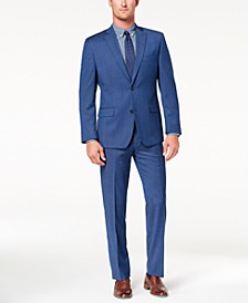 Men's Classic-Fit Airsoft Stretch Blue Solid Suit Separates