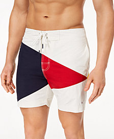 "Tommy Hilfiger Men's Searay Colorblocked 6"" Swim Trunks, Created for Macy's"