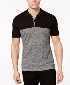 Alfani Men's Colorblocked Quarter-Zip Polo, Created for Macy's