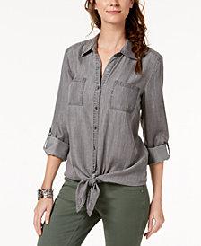 Style & Co Tie-Hem Denim Shirt, Created for Macy's