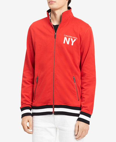 Calvin Klein Jeans Men's Athletic Collage Logo-Print Full-Zip Sweatshirt, Created for Macy's