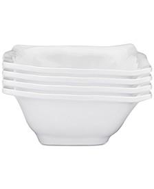 "Ruffle 4-Pc. Melamine 6.5"" Square Cereal Bowl Set"
