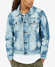 True Religion Men's Dylan Bleach-Splatter Destroyed Denim Trucker Jacket
