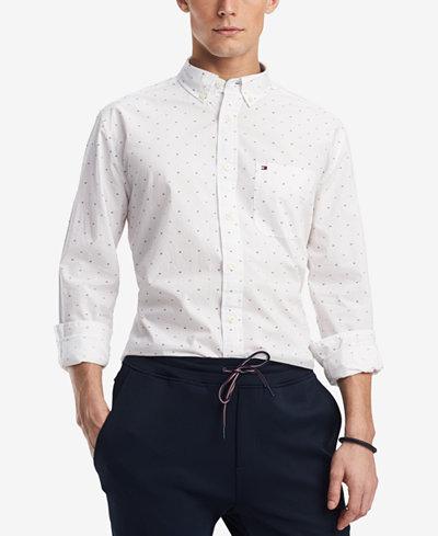 Tommy Hilfiger Men's Dewitter Scattered Logo-Print Pocket Shirt, Created for Macy's