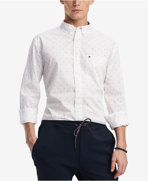 Men's Dewitter Scattered Logo-Print Pocket Shirt, Created for Macy's