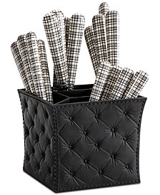 Q Squared London Chic Black & White 16-Pc. Flatware Set with Caddy