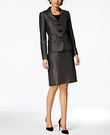 Le Suit Pin-Dot Skirt Suit, Regular & Petite