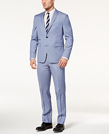 Vince Camuto Men's Slim-Fit Stretch Light Blue Chambray Stripe Suit