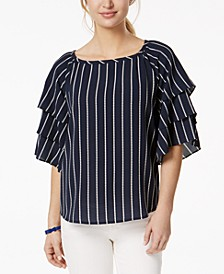 Petite Striped Tiered-Sleeve Top, Created for Macy's