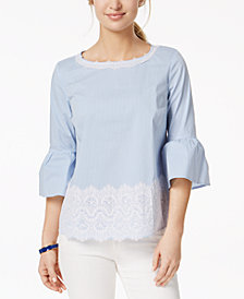 Charter Club Petite Striped Lace-Trim Top, Created for Macy's
