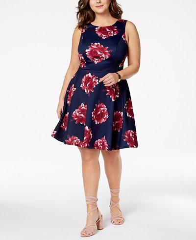 City Studios Trendy Plus Size Printed Fit & Flare Dress