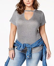 ABASIX Trendy Plus Size Choker T-Shirt