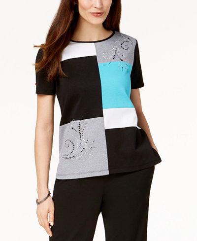 Alfred Dunner Play Date Colorblocked Embellished Top